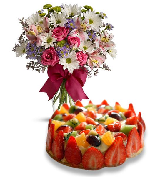 Super Torta alla Frutta con Bouquet Beautiful | Consegna Torta a Domicilio VN85