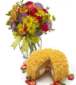 torta-mimosa-con-bouquet-di-fiori-misti-colorati