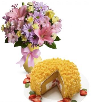 consegna-torta-mimosa-con-bouquet-di-roselline