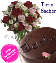 torta-sacher-e-bouquet-rose