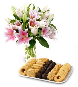 consegna-torta-biscotti-con-gigli