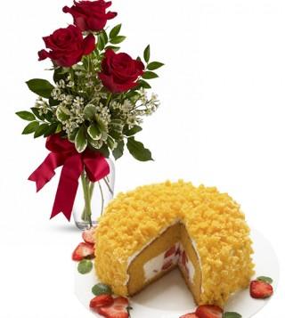 consegna-torta-mimosa-con-tre-rose-rosse