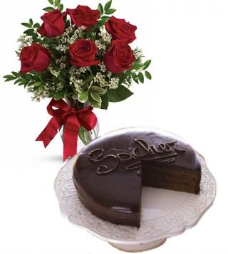 consegna-torta-sacher-con-sei-rose-rosse
