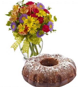 ciambella-al-cacao-con-bouquet-di-fiori-misti-colorati