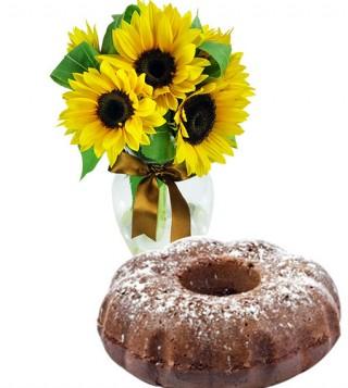 ciambella-al-cacao-con-bouquet-di-tre-girasoli