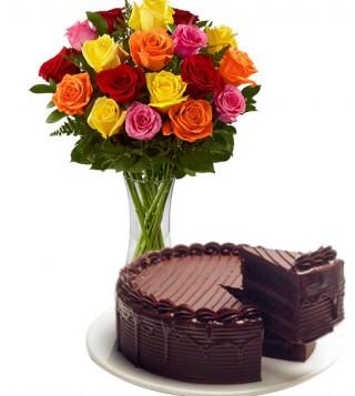 torta-al-cioccolato-con-bouquet-di-18-rose-colorate