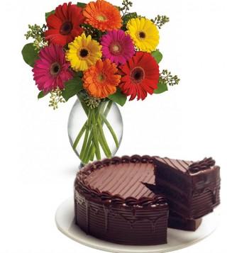 torta-al-cioccolato-con-bouquet-di-gerbere