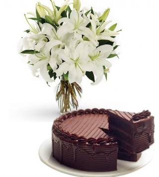 torta-al-cioccolato-con-bouquet-di-gigli