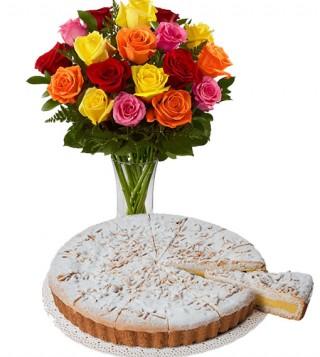 torta-della-nonna-con-bouquet-di-18-rose-colorate