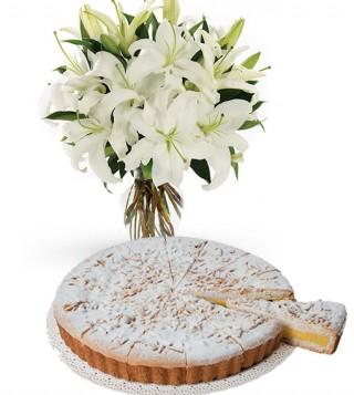 torta-della-nonna-con-bouquet-di-gigli