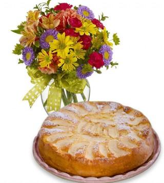 torta-di-mele-con-bouquet-di-fiori-misti