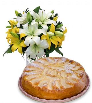 torta-di-mele-con-bouquet-di-gigli