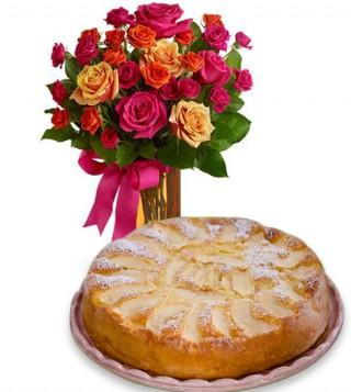torta-di-mele-con-bouquet-di-roselline