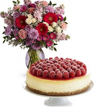 consegna-torta-cheecake-e-fiori-misti