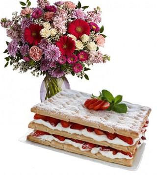 consegna-torta-mille-foglie-e-bouquet-fiori-misti
