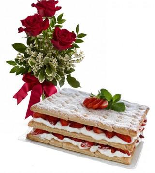 consegna-torta-mille-foglie-e-rose-rosse