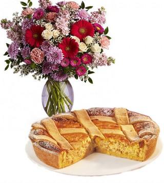 consegna-torta-pastiera-e-bouquet-di-fiori-misti