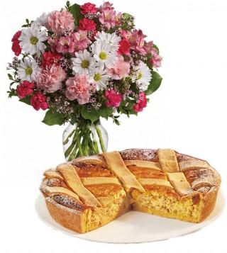 consegna-torta-pastiera-e-bouquet-fiori-rosa