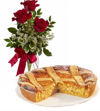 consegna-torta-pastiera-e-rose-rosse