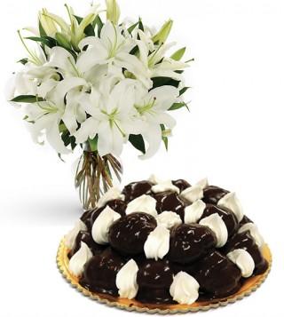 consegna-torta-profiterole-e-gigli-bianchi
