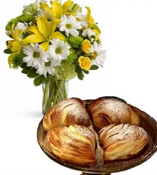 consegna-torta-sfogliatelle-e-bouquet-di-gigli