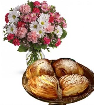 consegna-torta-sfogliatelle-e-fiori-misti-rosa