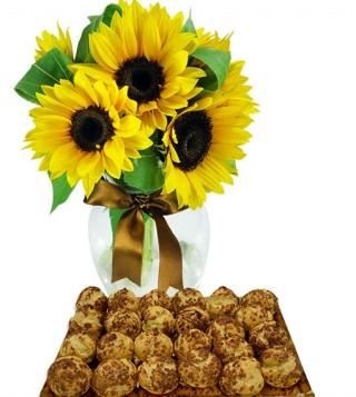 bigne-al-caffe-con-bouquet-di-girasoli