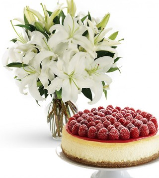 chesecake-con-bouquet-di-gigli