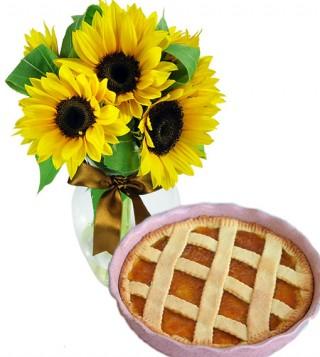 crostata-alla-marmellata-con-bouquet-di-girasoli