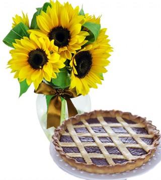 crostata-alla-nutella-con-bouquet-di-girasoli