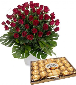ferrero-rocher-con-bouquet-di-50-rose-rosse