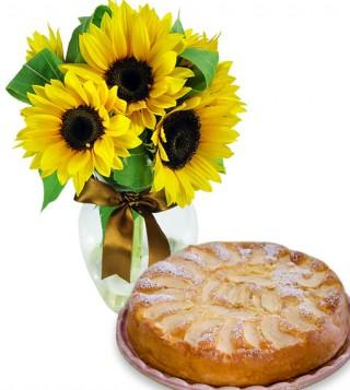 torta-di-mele-con-bouquet-di-girasoli
